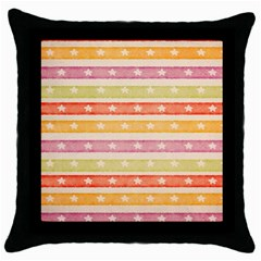Watercolor Stripes Background With Stars Throw Pillow Case (Black)