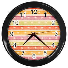 Watercolor Stripes Background With Stars Wall Clocks (Black)