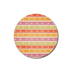 Watercolor Stripes Background With Stars Rubber Coaster (Round)