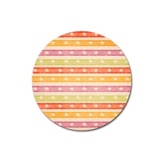 Watercolor Stripes Background With Stars Magnet 3  (Round)