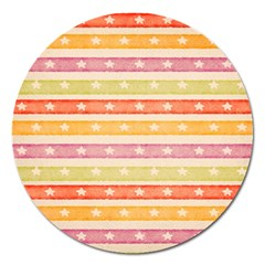Watercolor Stripes Background With Stars Magnet 5  (Round)