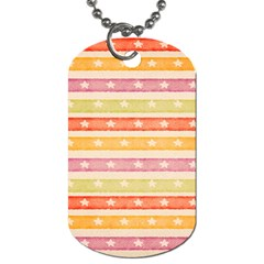 Watercolor Stripes Background With Stars Dog Tag (Two Sides)
