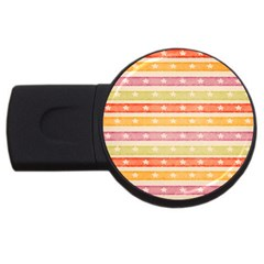 Watercolor Stripes Background With Stars USB Flash Drive Round (2 GB)