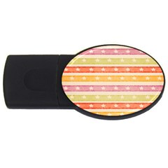 Watercolor Stripes Background With Stars USB Flash Drive Oval (2 GB)