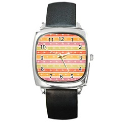 Watercolor Stripes Background With Stars Square Metal Watch