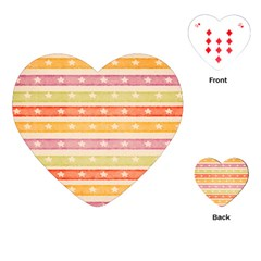 Watercolor Stripes Background With Stars Playing Cards (Heart)