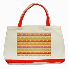 Watercolor Stripes Background With Stars Classic Tote Bag (Red)