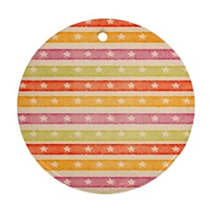 Watercolor Stripes Background With Stars Round Ornament (Two Sides)