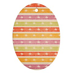 Watercolor Stripes Background With Stars Oval Ornament (two Sides)