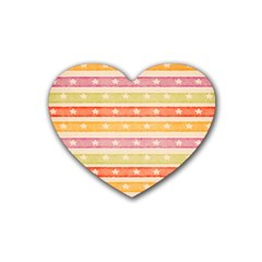 Watercolor Stripes Background With Stars Heart Coaster (4 pack)