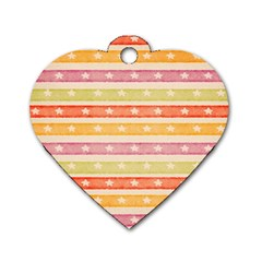 Watercolor Stripes Background With Stars Dog Tag Heart (One Side)