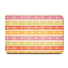 Watercolor Stripes Background With Stars Small Doormat