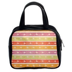Watercolor Stripes Background With Stars Classic Handbags (2 Sides)