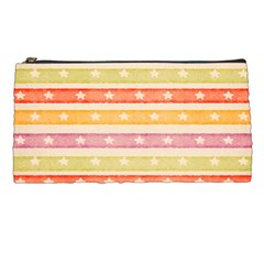 Watercolor Stripes Background With Stars Pencil Cases