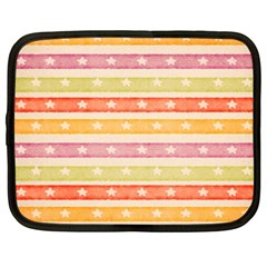 Watercolor Stripes Background With Stars Netbook Case (XXL)