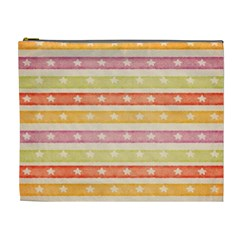 Watercolor Stripes Background With Stars Cosmetic Bag (XL)