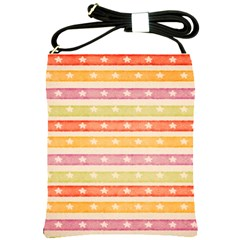Watercolor Stripes Background With Stars Shoulder Sling Bags