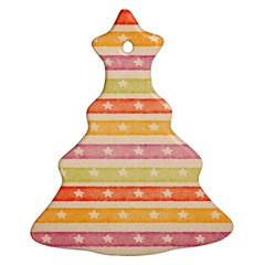 Watercolor Stripes Background With Stars Christmas Tree Ornament (2 Sides)