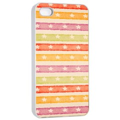Watercolor Stripes Background With Stars Apple iPhone 4/4s Seamless Case (White)