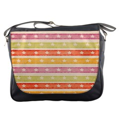 Watercolor Stripes Background With Stars Messenger Bags