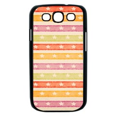 Watercolor Stripes Background With Stars Samsung Galaxy S III Case (Black)