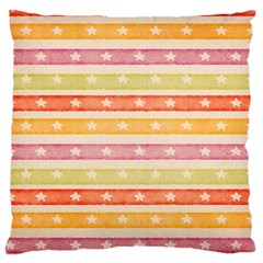 Watercolor Stripes Background With Stars Large Cushion Case (Two Sides)
