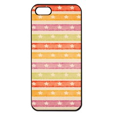 Watercolor Stripes Background With Stars Apple iPhone 5 Seamless Case (Black)