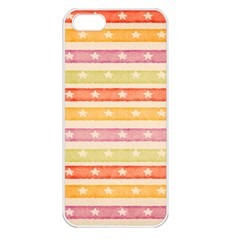 Watercolor Stripes Background With Stars Apple iPhone 5 Seamless Case (White)
