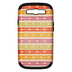 Watercolor Stripes Background With Stars Samsung Galaxy S III Hardshell Case (PC+Silicone)