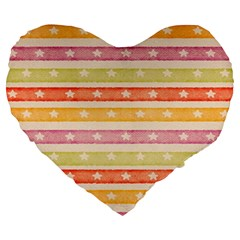 Watercolor Stripes Background With Stars Large 19  Premium Heart Shape Cushions