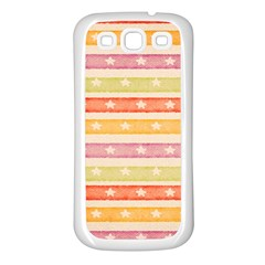 Watercolor Stripes Background With Stars Samsung Galaxy S3 Back Case (White)