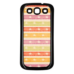 Watercolor Stripes Background With Stars Samsung Galaxy S3 Back Case (Black)