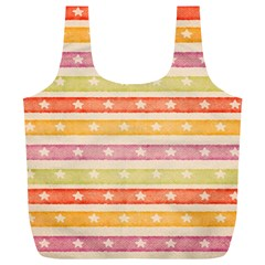 Watercolor Stripes Background With Stars Full Print Recycle Bags (L)