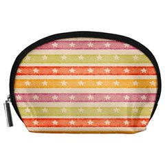 Watercolor Stripes Background With Stars Accessory Pouches (Large)