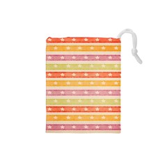 Watercolor Stripes Background With Stars Drawstring Pouches (Small)
