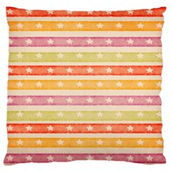 Watercolor Stripes Background With Stars Large Flano Cushion Case (One Side)