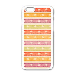 Watercolor Stripes Background With Stars Apple iPhone 6/6S White Enamel Case