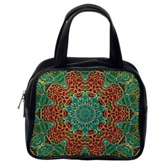 The Wooden Heart Mandala,giving Calm Classic Handbags (One Side)