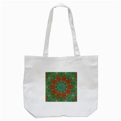 The Wooden Heart Mandala,giving Calm Tote Bag (White)