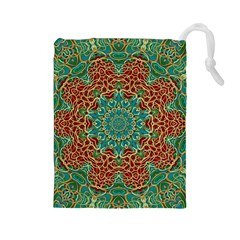 The Wooden Heart Mandala,giving Calm Drawstring Pouches (Large)