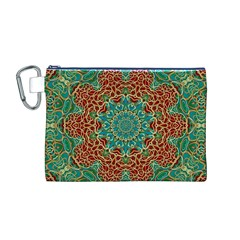 The Wooden Heart Mandala,giving Calm Canvas Cosmetic Bag (M)