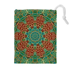 The Wooden Heart Mandala,giving Calm Drawstring Pouches (extra Large)