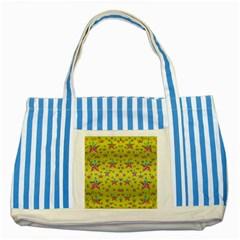 Flower Power Stars Striped Blue Tote Bag