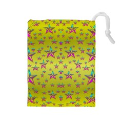 Flower Power Stars Drawstring Pouches (large)