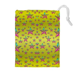 Flower Power Stars Drawstring Pouches (extra Large)