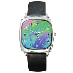 Green Blue Pink Color Splash Square Metal Watch