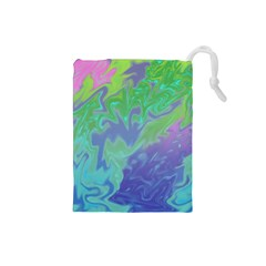 Green Blue Pink Color Splash Drawstring Pouches (Small)