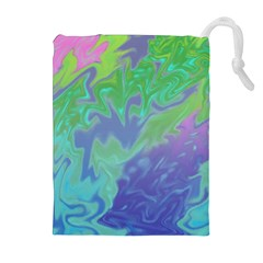 Green Blue Pink Color Splash Drawstring Pouches (extra Large)