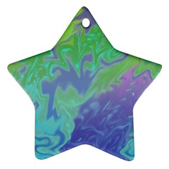 Green Blue Pink Color Splash Ornament (Star)