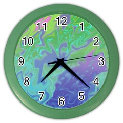 Green Blue Pink Color Splash Color Wall Clocks